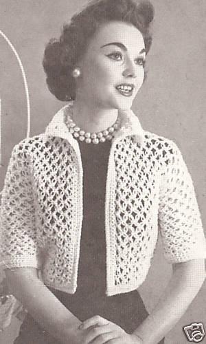 Vintage Crochet Pattern To Make Knot Stitch Lace Bolero Shortie