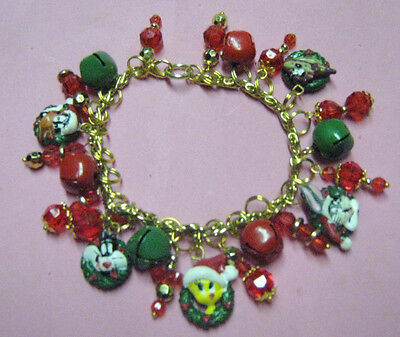 """LOONEY TUNES CHRISTMAS""-CHARM BRACELET -ONE OF A KIND  HAND MADE"