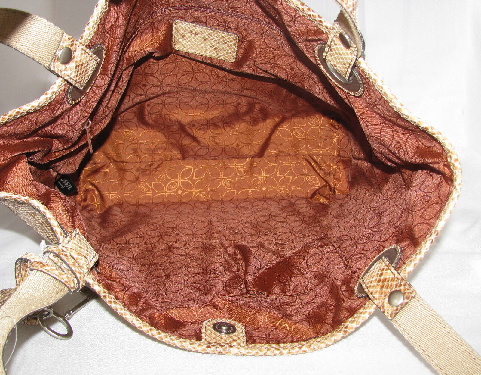 13dbcfa2b9 Fossil Python Tote Bag SHOPPER Purse in Taupe Embossed Leather Shb3605271  for sale online