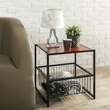 Modern Side Table Small End Night Stand w Storage Basket Living Room Furniture