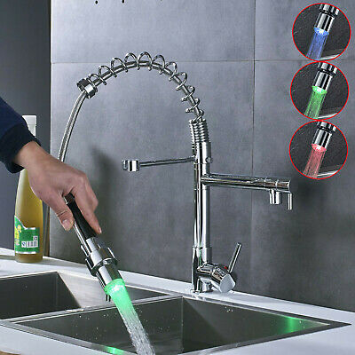 Commerical Kitchen Faucet with Sprayer,Single Handle Pull Down Sprayer LED  Light 713741943986 | eBay