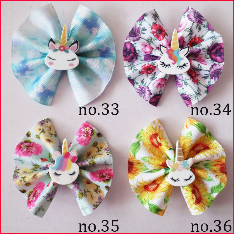"""100 bénédiction Girl 3/"""" Fan hair bow clip Licorne Wholesale laser or stamping"""