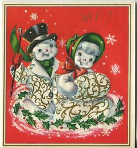 VINTAGE CHRISTMAS SNOWMAN SNOW GIRL EMBOSSED GOLD WHITE SNOWFLAKES GREETING CARD