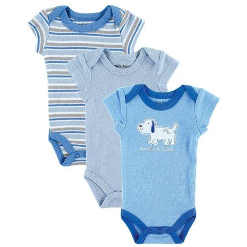 Luvable Friends Premature Baby 3 Pack Bodysuit Vests Boys Blue Girls Pink