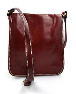 2b33e882fd Caricamento dell'immagine in corso Tracolla-pelle-uomo-donna-rosso-borsa- pelle-borsello-