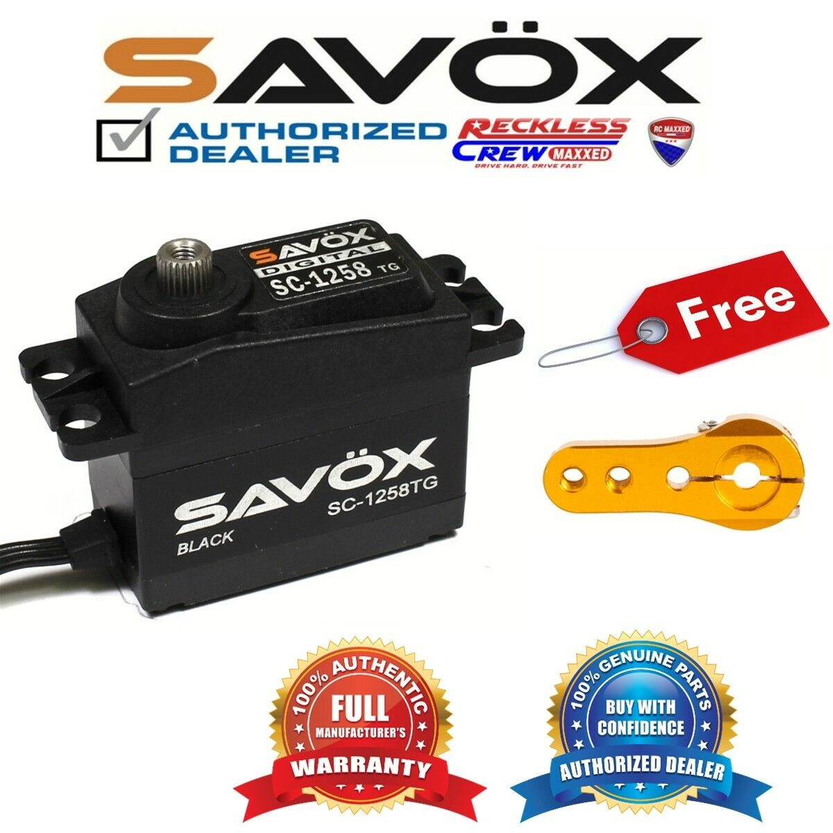 Savox SC-1258TG-BE Digital Servo Coreless Negro + Gratis Aluminio Servo Cuerno de oro