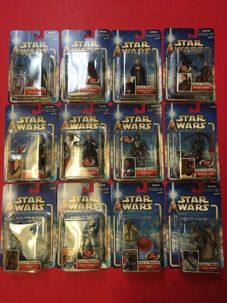 Hay más marcas de productos de alta calidad. Estrella Wars Ataque Ataque Ataque De Los Clones Saga Serie Mix Lote 12 figuras 2002 Yoda  presentando toda la última moda de la calle