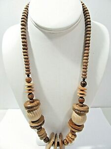 Vintage tribal wood wooden beads beaded necklace