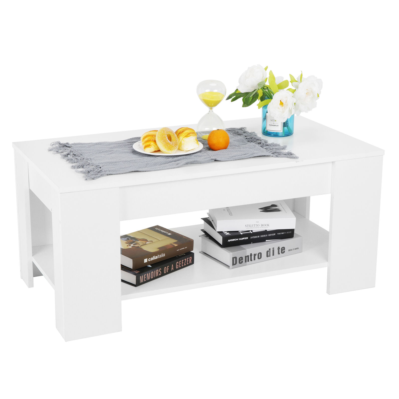 Compartment Lift up Top Tea Coffee Table Laptop Storage Shelves Living Room Furniture