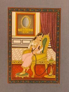 Hand-Painted-Mughal-Maharani-Portrait-Queen-Miniature-Painting-India-Hookah