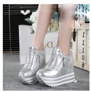 New Womens Platform Hidden Heel shoes Creepers Zip Wedge Sneakers Weadge new hot
