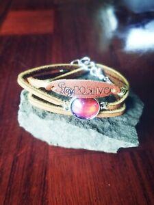 """Handmade unique womens universe gem & """"Stay Positive"""" wrap bracelets"""