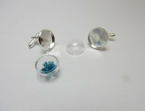 2 silver plated cuff link cabochon blank settings with hollow glass domes 16 mm