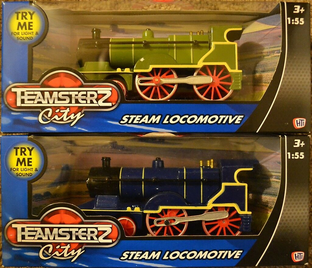TEAMSTERZ DIECAST TOY TANK ENGINE LOCOMOTIVE + SOUNDS GREEN OR blueE