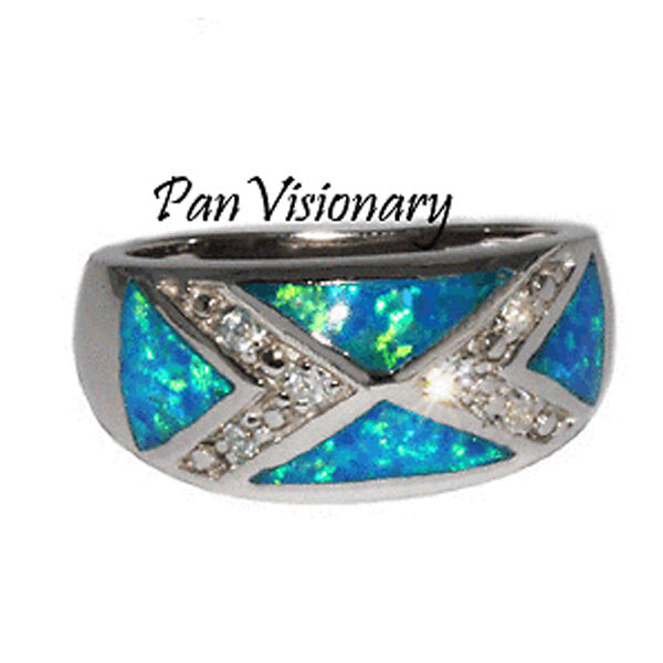 Opal CZ Ring 6.5g 925 Sterling Silver Blue w Green Lab Created 9.5mm sizes 6 7 8