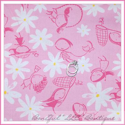 BonEful Fabric FQ Cotton Quilt Yellow White Blue Flower Daisy Butterfly Girl Dot