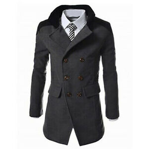 S-Fly Womens Winter Lapel Double Breasted Wool-Blend Trench Overcoat Jacket