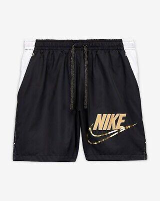 Men's Nike Sportswear Woven Shorts SZ M Black Metallic Gold White New   eBay