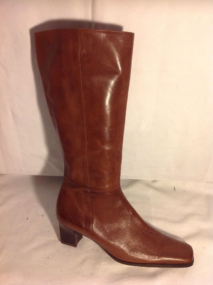 Ladies Brown Knee High Leather Boots Size 38