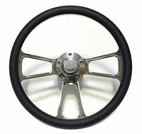 1967-1968 Nova, Chevy Ii 14 Billet And Black Steering Wheel Kit, With Ss Horn
