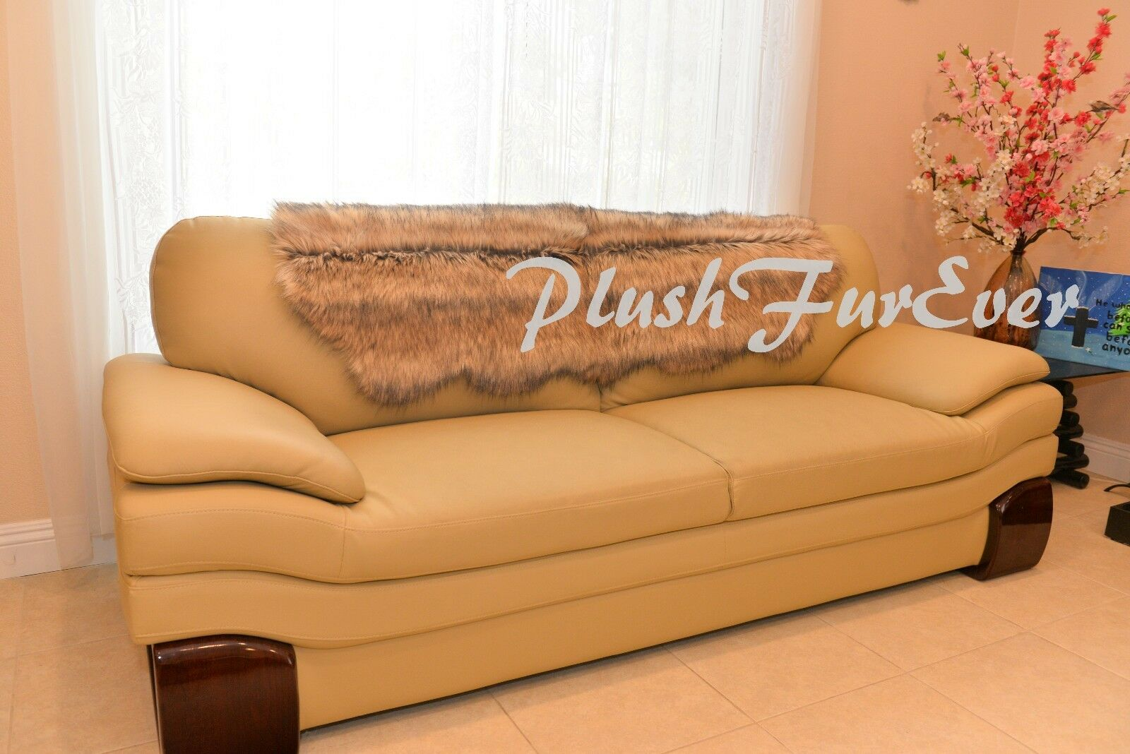 "24x59/"" Beige Coyote Fur SLIPCOVERS FAUX FUR Living Room Decor Sofa Couch Covers"