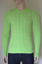 NEW Abercrombie & Fitch Wolf Pond Cable Knit Sweater Jumper Lt Green L RRP £98