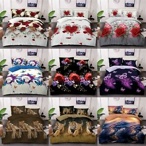 3D-Effect-Bedding-Set-Duvet-Cover-Pillow-Cases-amp-Fitted-Sheet-Single-Double-King