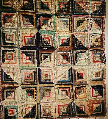 Capable 1880's Sunshine & Shadow Log Cabin Quilt Blue Ridge Parkway Fancy Gap 67x75