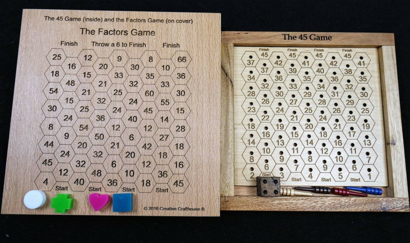 The 45 Game & The Factors Game – 2 math educational fun games in 1 set. Made USA
