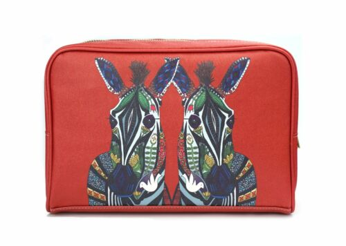 Womens Large Vegan Red Zebra Large Travel Wash Bag//Make Up Birthday gift
