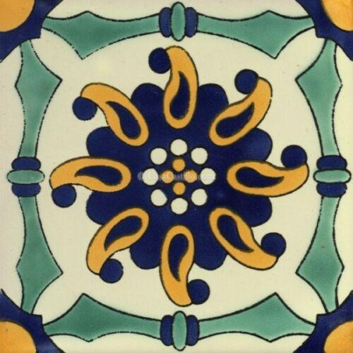 "10 sq//ft  4¼ x 4¼/"" or 6x6/"" Mexican Talavera Ceramic Tiles Handpainted Asuncion"