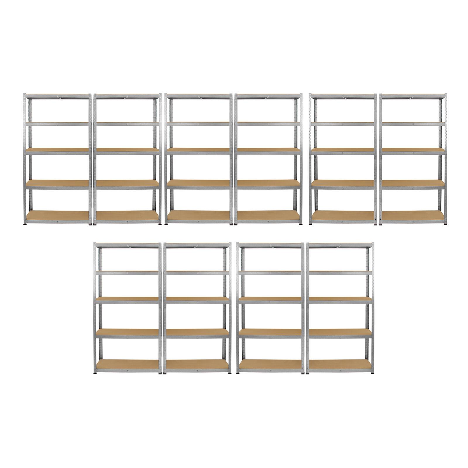 10 x Scaffalature ZINCATO Ripiani MDF Metallo pesante dovere TRAVASO Storage 5 piani Bay