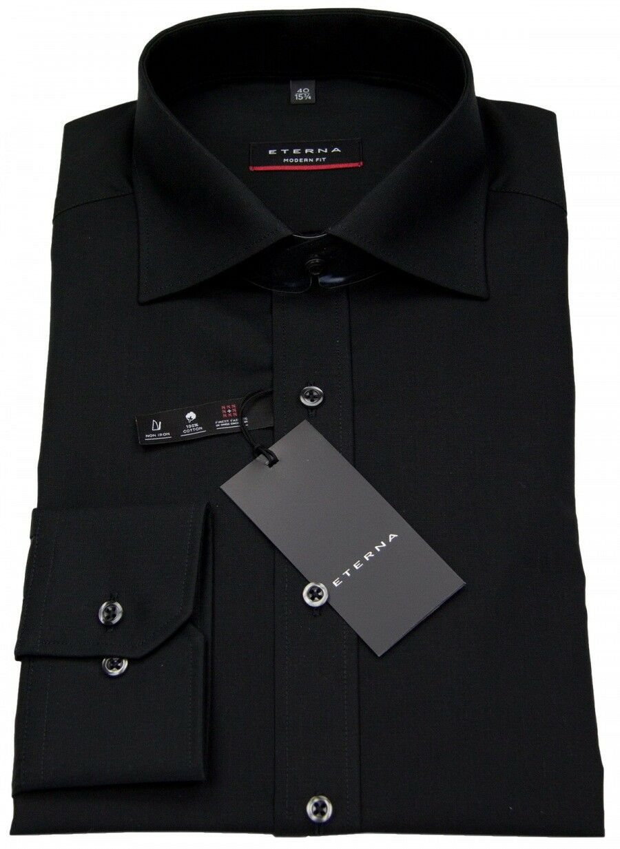 Eterna Herren Hemd Modern Fit ohne Brusttasche schwarz 1100 X177 39