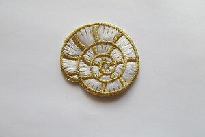 3257-Gold-White-Conch-Ocean-Embroidery-Applique-Patch