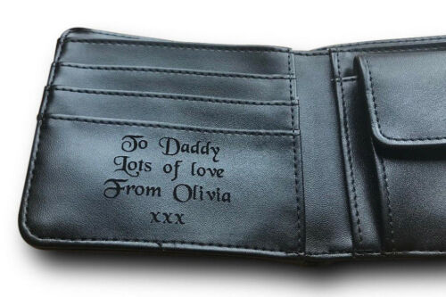 Mens Personalised Engraved Black Leather Wallet Fathers Day Gift for Dad Daddy/'s