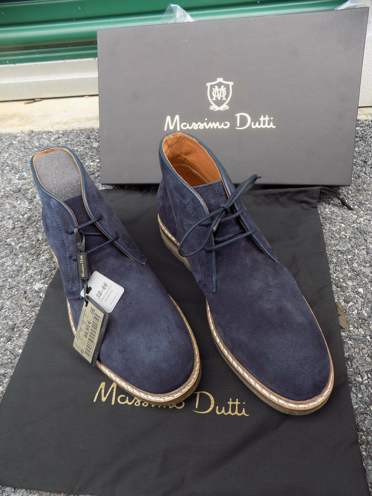 New w box Massimo Dutti Chukka tie Mens Ankle Boots Blue Suede Mens tie Sz 40 7 Womens 9 8561f5