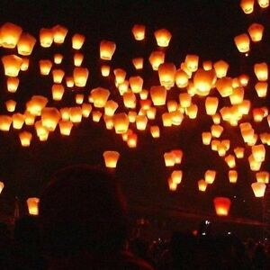 10 Pack Fire Sky Lantern Flying Paper Wish Balloon - Orange