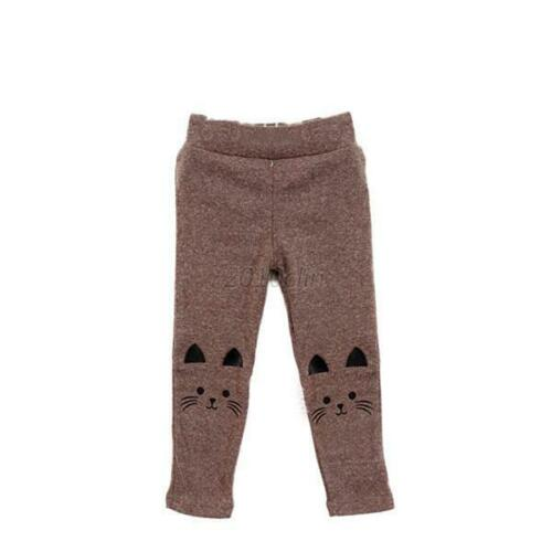 Baby Girls Autumn Warm Leggings Trousers Kid Cat Print Soft Long Slim Pants 3-4T