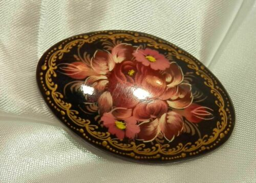 Vintage 1990s Oval Black Laquer PinBrooch FlowersFloral YellowGreenBlueRed Retro Russian Hand Painted