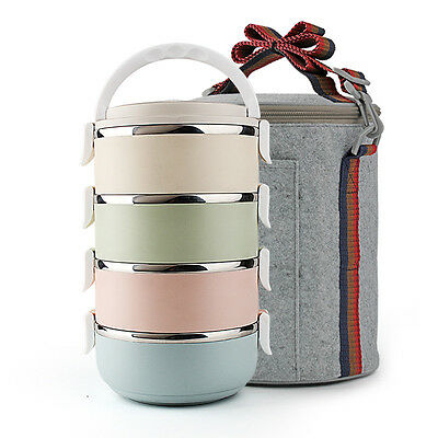 3/4 TIER STAINLESS STEEL FOOD CARRIER TIFFIN CONTAINER LUNCH/ BENTO BOX WITH BAG