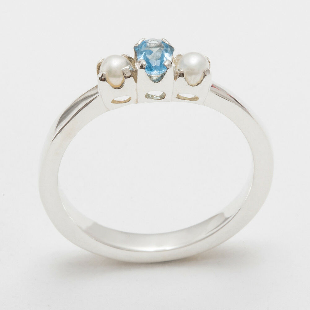 14ct White gold Natural bluee Topaz & Pearl Womens Trilogy Ring - Sizes J to Z