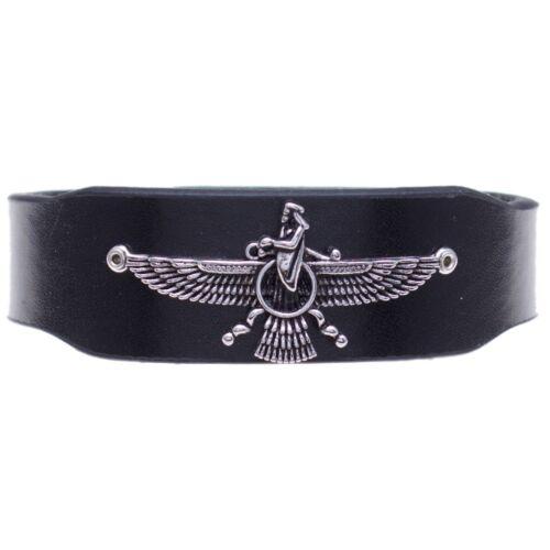 Unisexe Persan zoroastrienne Farvahar farohar Cuir Bracelet Perse Cadeau Art