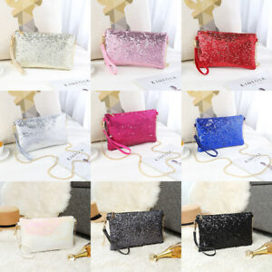Ladies-Designer-Sequins-Purse-Chain-Handbag-Shoulder-Bag-Evening-Bag-Clutch