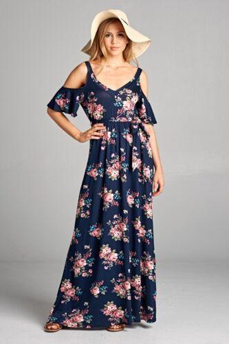 Floral Cold Shoulder Navy Blue Pink BoHo Maxi Long Dress S M