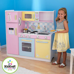Image Is Loading Kidkraft Large Kids Wooden Pastel Kitchen Pretend Play