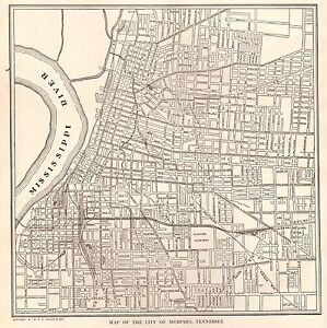 1923 Antique MEMPHIS Map of Memphis Tennessee Black and White ...