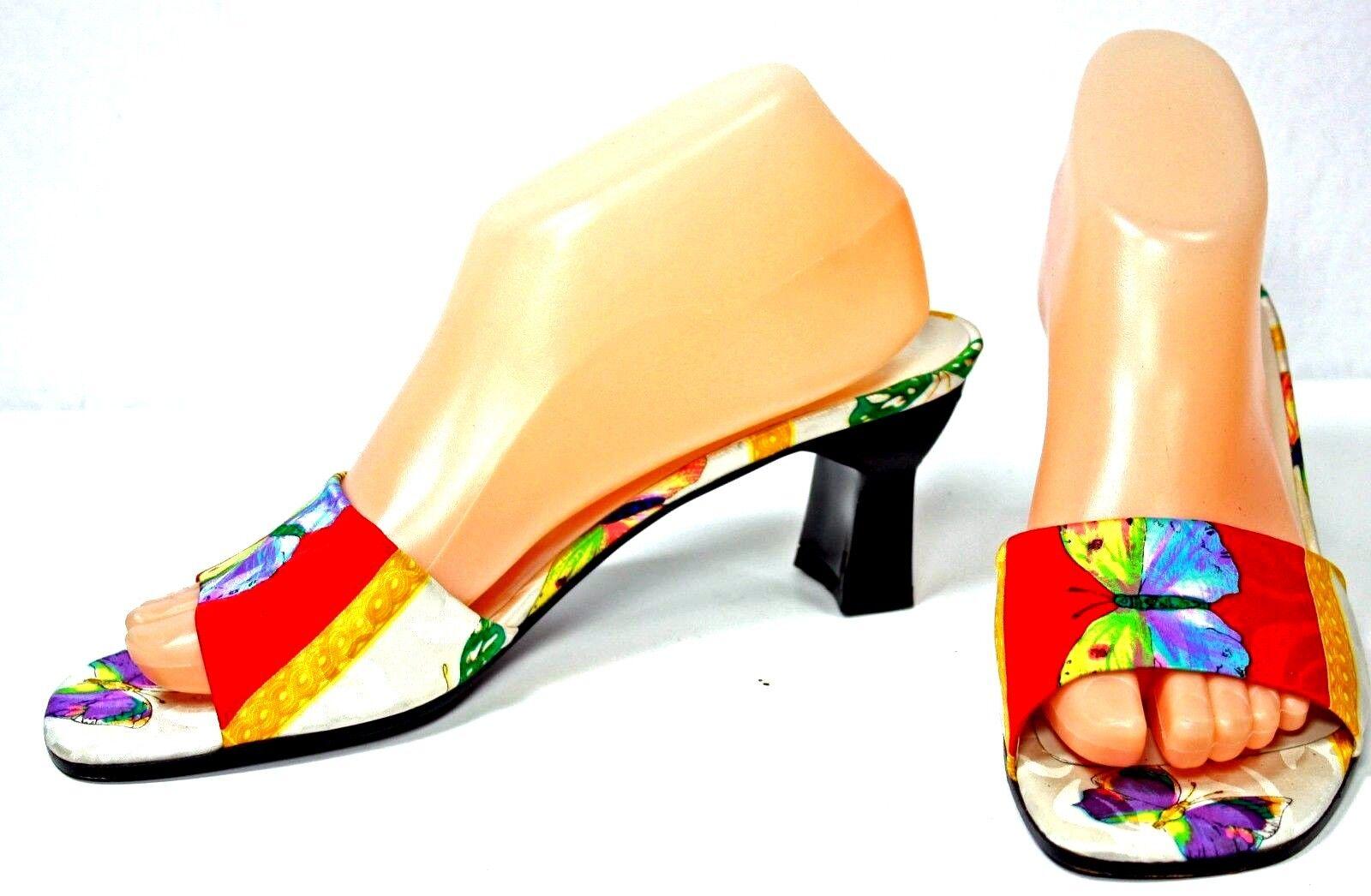 Stuart Weitzman Sandals size 8.5 B Open Toe Satin Butterfly WH25