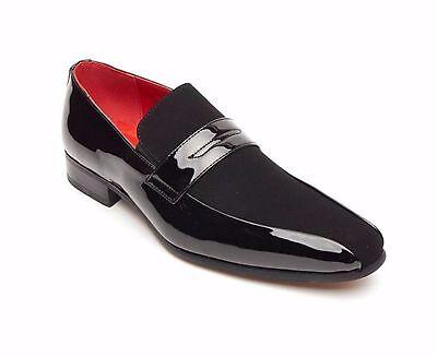 Rossellini Monzese para Hombre Zapatos Negro De Cuero De Imitación Brillante Boda Mocasín mocasín