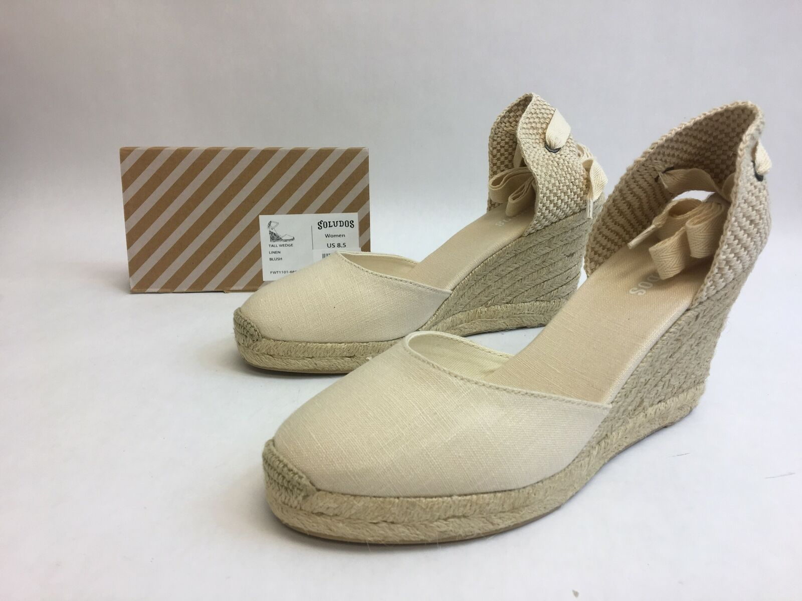 Soludos Linen Tall Wedge Ankle Wrap Sandals bluesh Womens Size 8.5 FWT1101-680