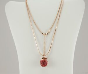 Womens real gold plated apple pendant necklace red cz stones snake image is loading women 039 s real gold plated apple pendant aloadofball Gallery